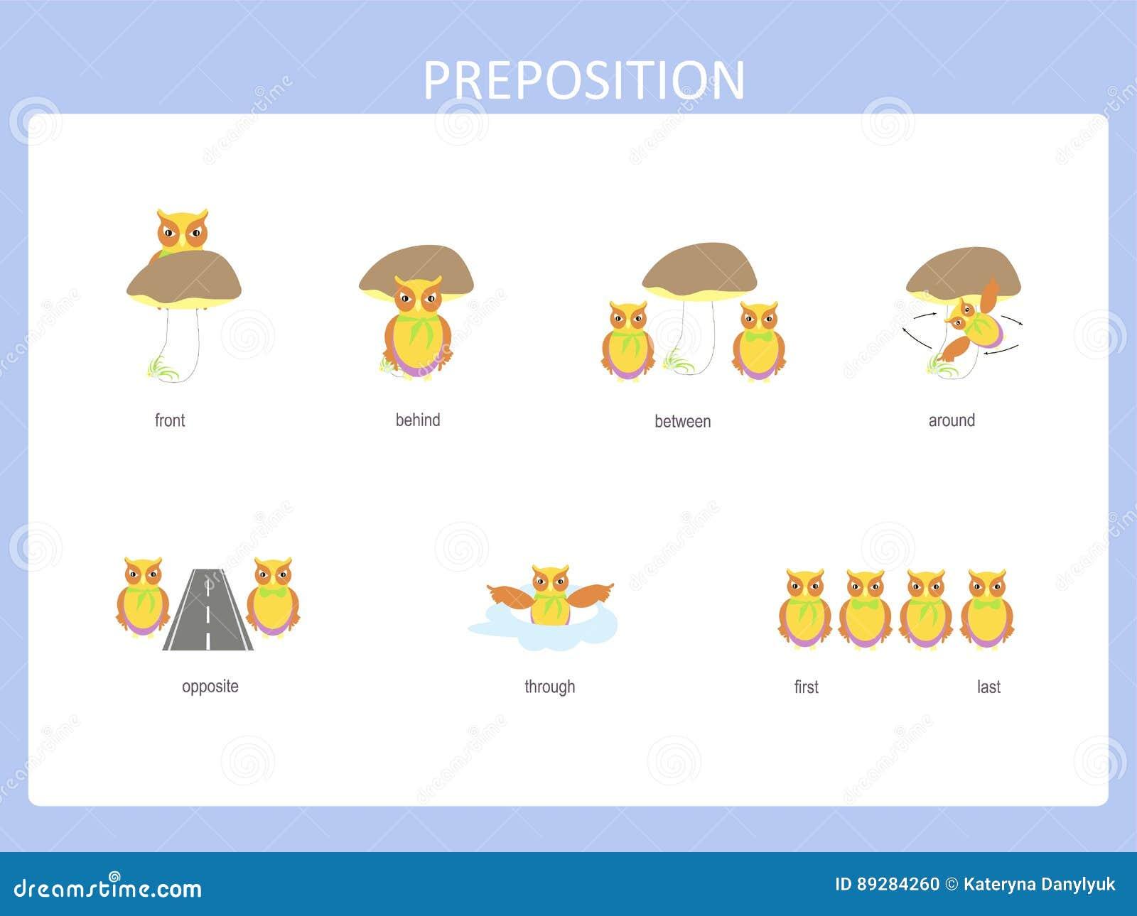 Preposition Of Motion For Preschool Worksheet Stock Vector