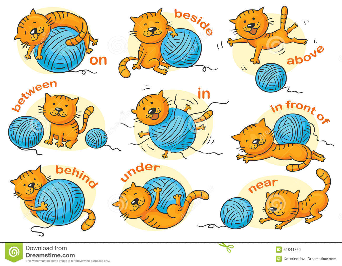 Cartoon cat in different poses to illustrate the prepositions of place ...
