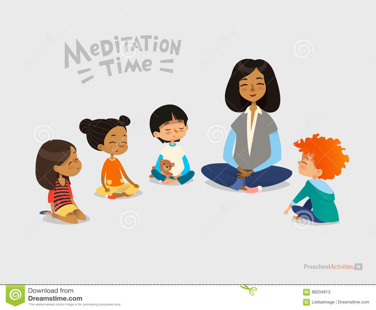 Preschool żeński nauczyciel i ono uśmiecha się dzieciaki siedzi w okręgu na podłoga i robi joga ćwiczeniu Medytaci lekcja w dziec