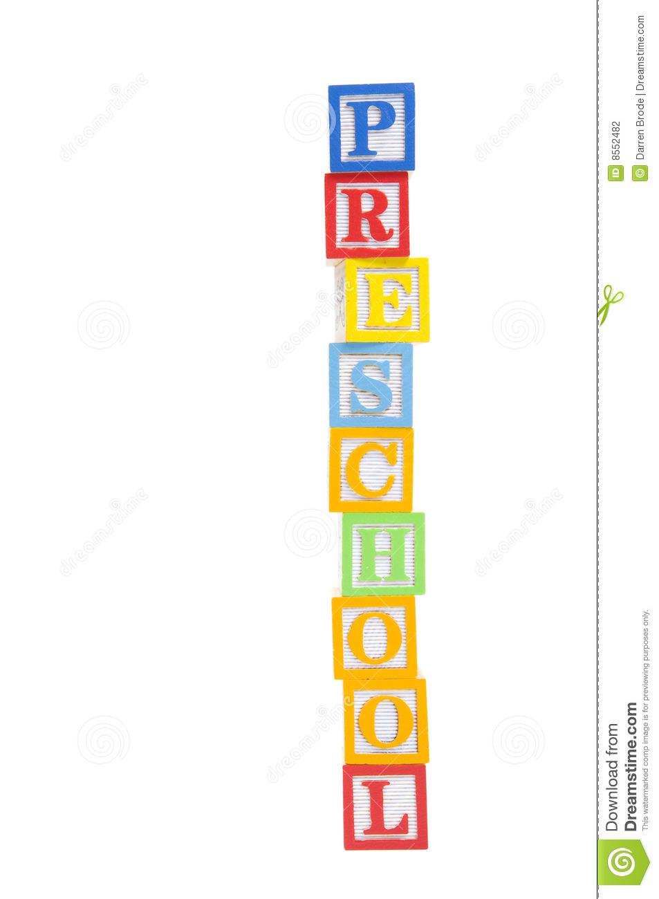 Preschool In Child Blocks With Clipping Path Stock