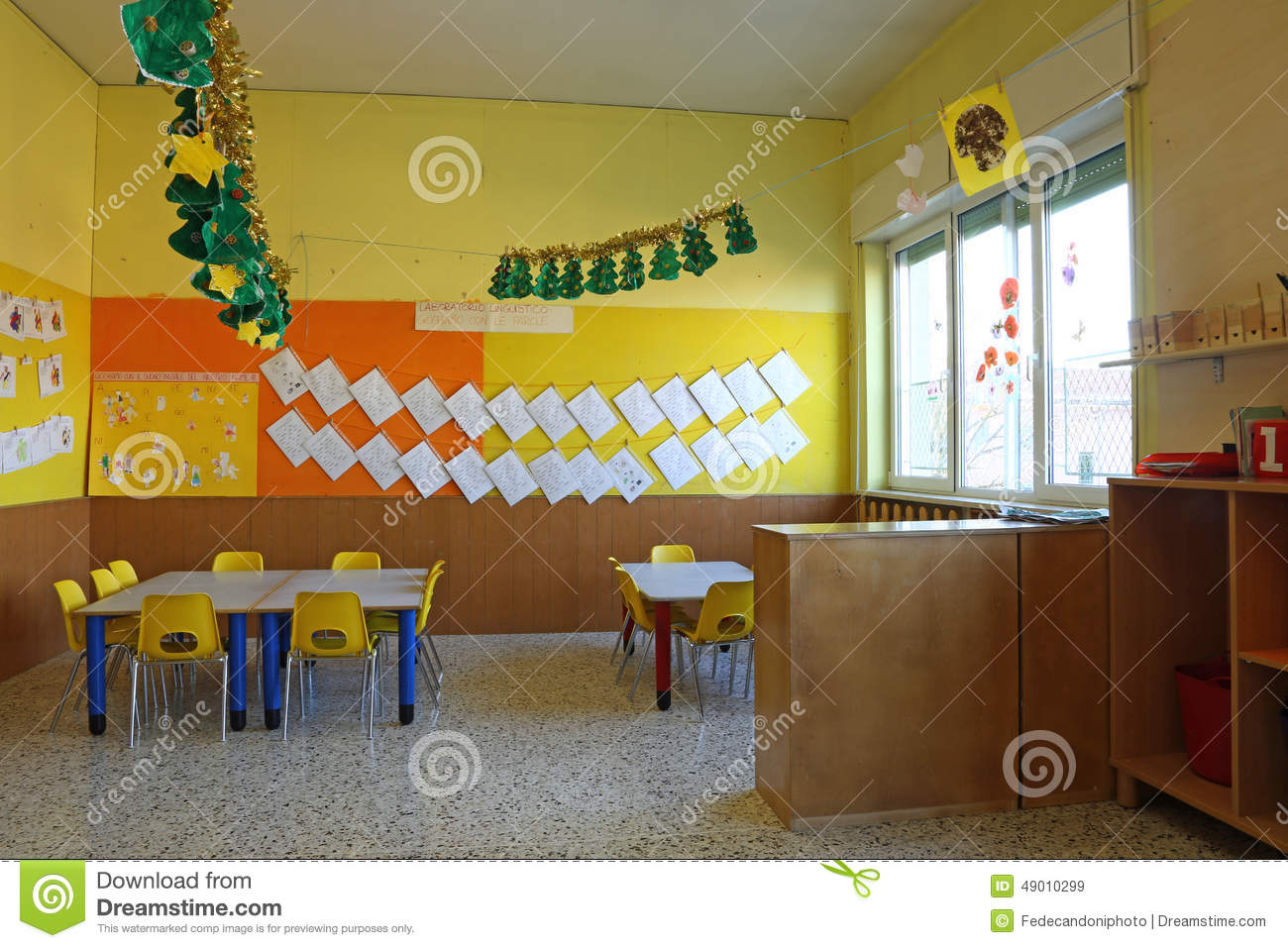 Yellow Classroom Decor ~ Preschool classroom with chairs and table drawings