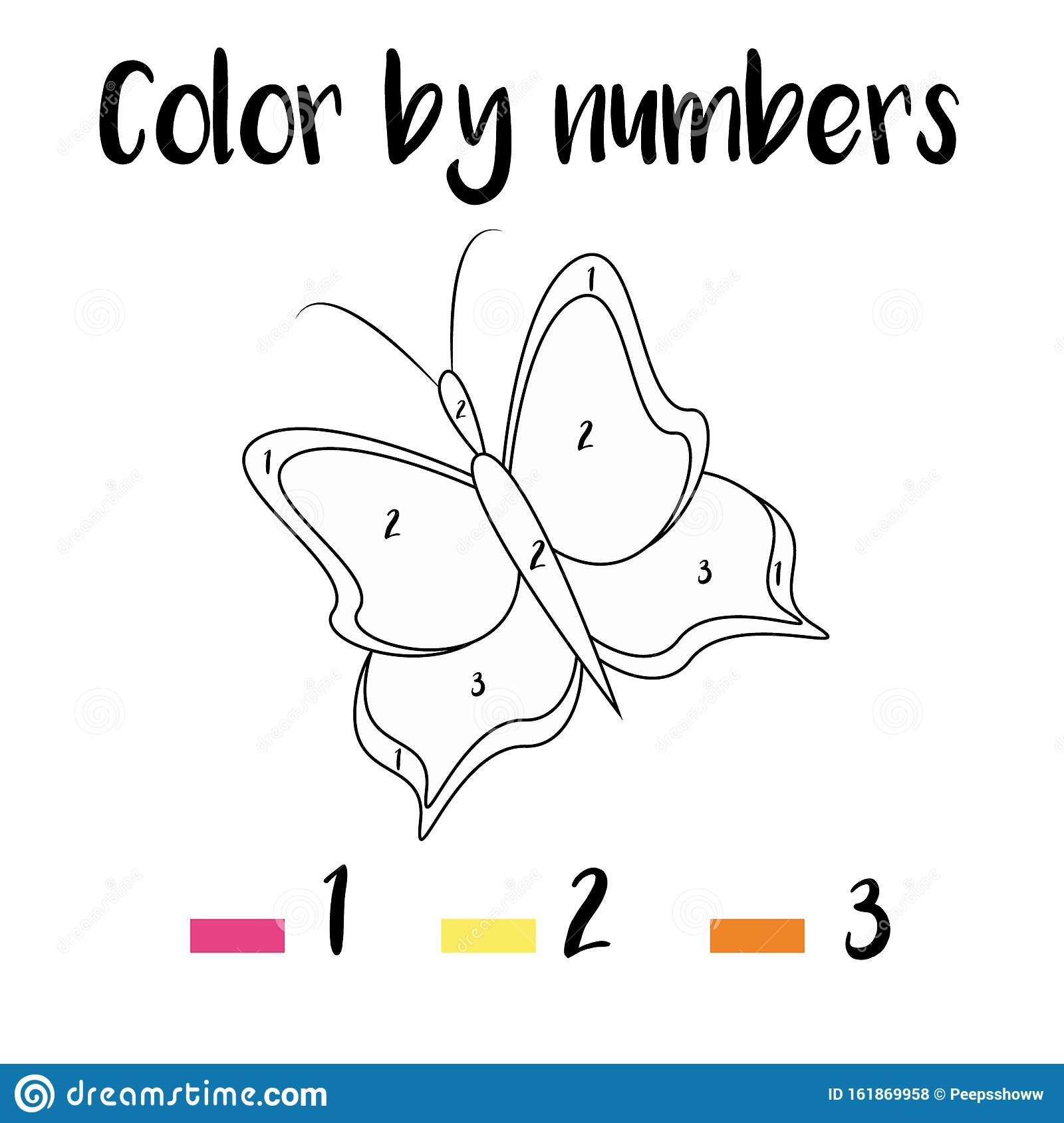 Coloring Page With Butterfly. Color By Numbers Educational ...