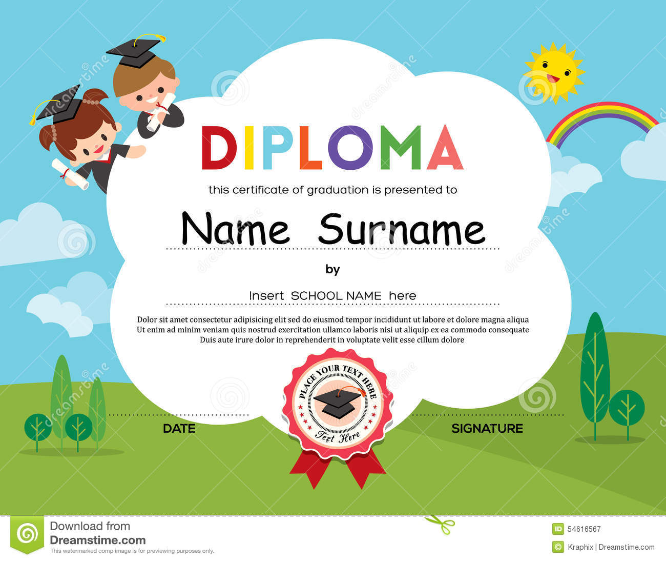 Certificate kids diploma kindergarten template layout space bac certificate kids diploma kindergarten template layout space bac vector illustration cartoondealer 56564020 yelopaper Image collections