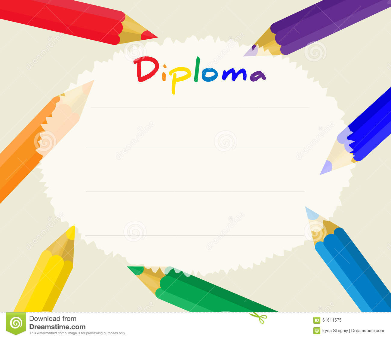 Certificate Template With Colorful Pencil Frame For Children – Certificate Template for Kids