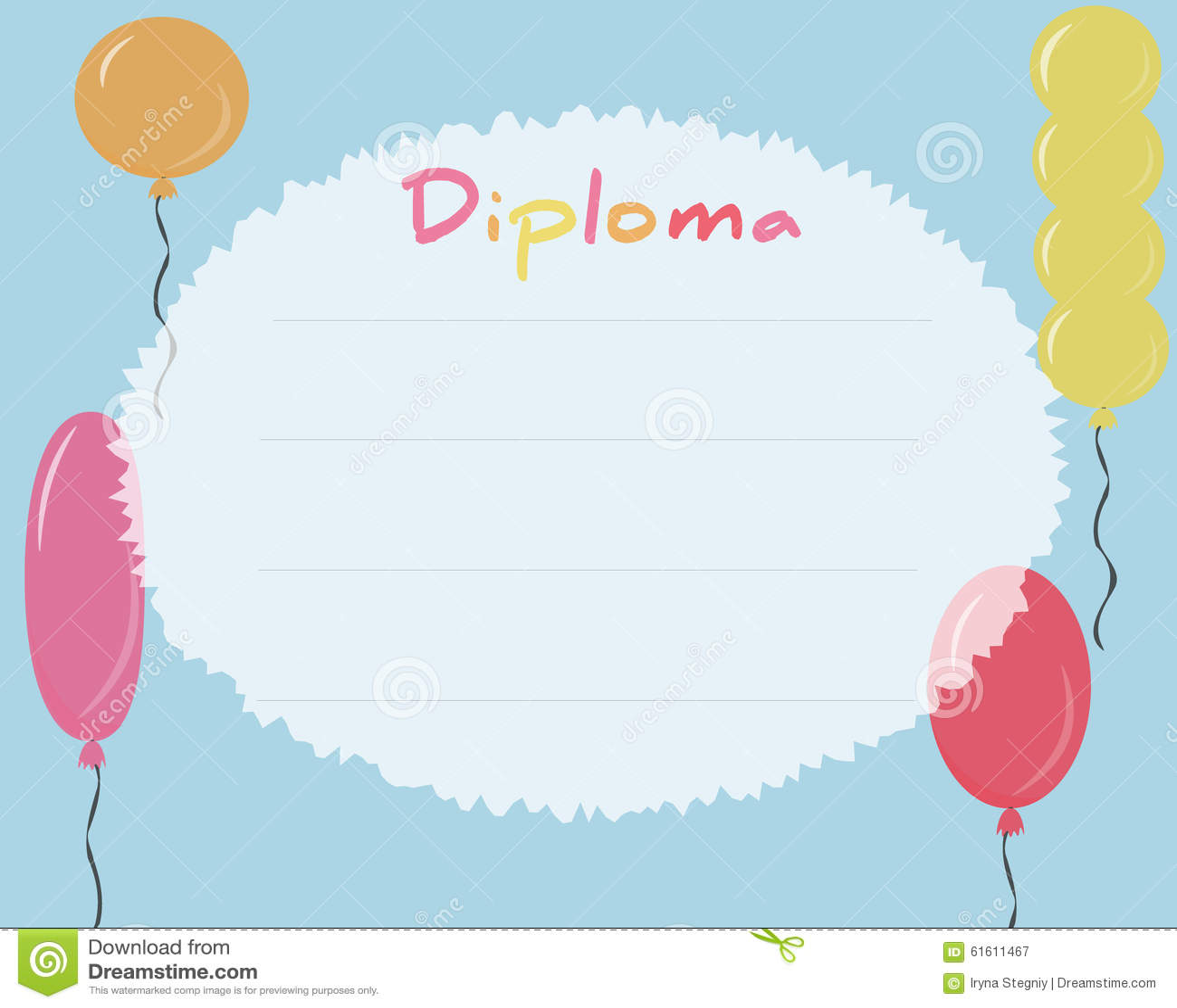 preschool elementary school  kids diploma certificate background stock illustration