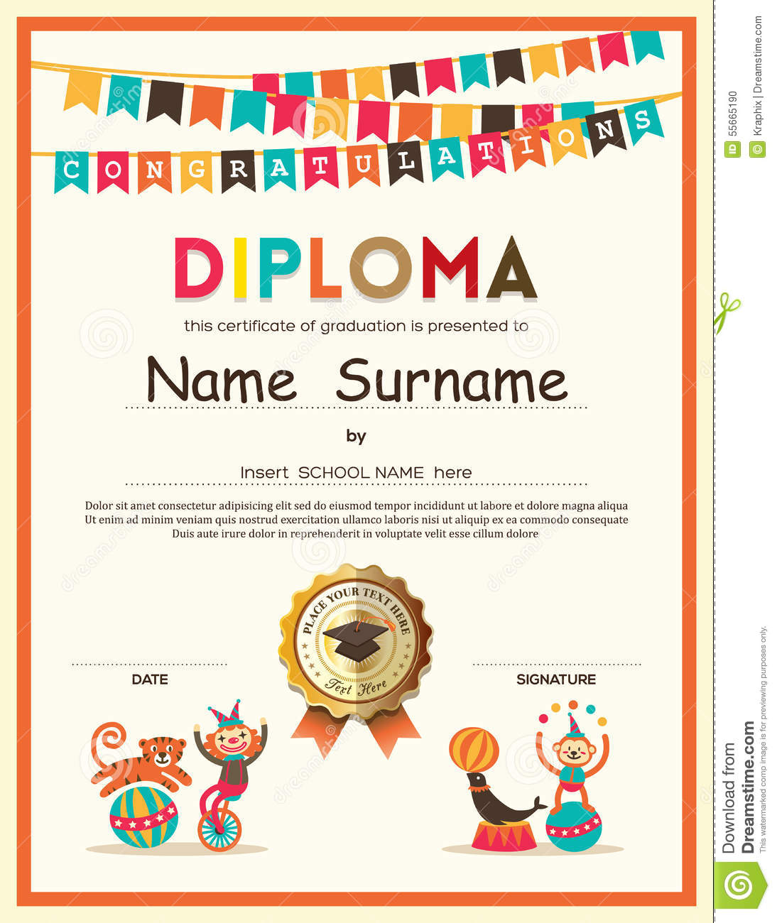 Preschool elementary school kids diploma certificate for High school diploma certificate fancy design templates
