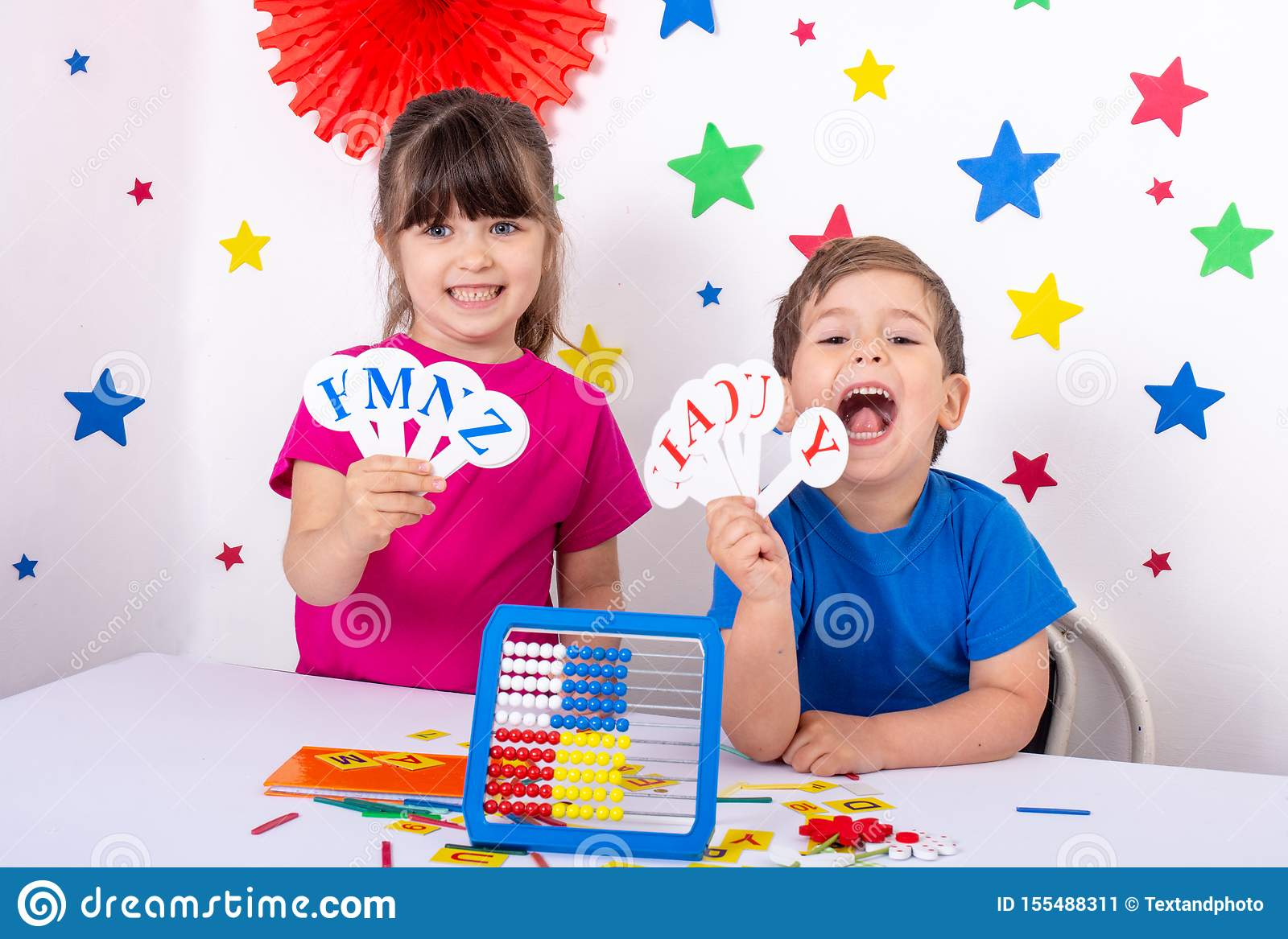 Preschool and elementary school learn english alphabet, colors, shapes.
