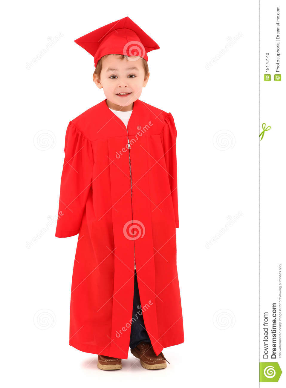 Preschool Graduate In Cap And Gown Stock Photo - Image of daycare ...