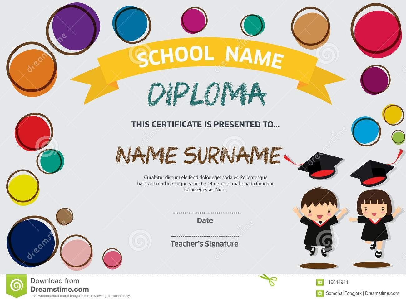 Preschool Kids Diploma Certificate Colorful Background Design