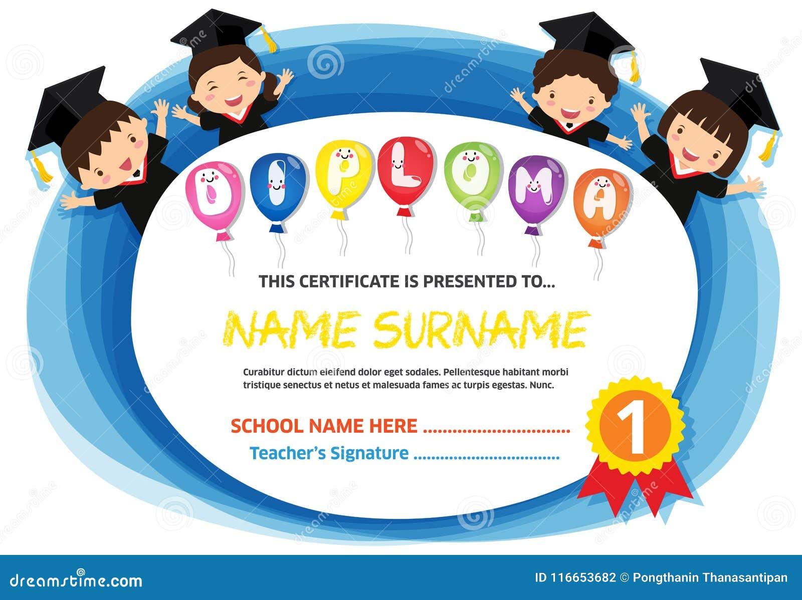 Preschool Kids Diploma Certificate Colorful Background ...  Preschool Kids ...