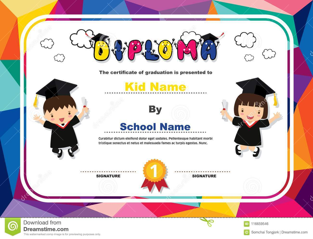 Preschool Kids Diploma Certificate Colorful Background Design ...