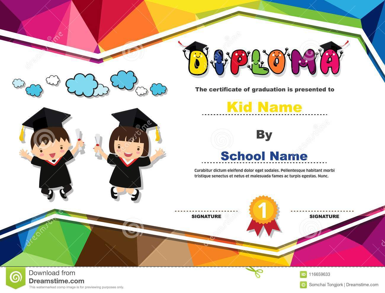 Preschool Kids Diploma Certificate Colorful Background ...