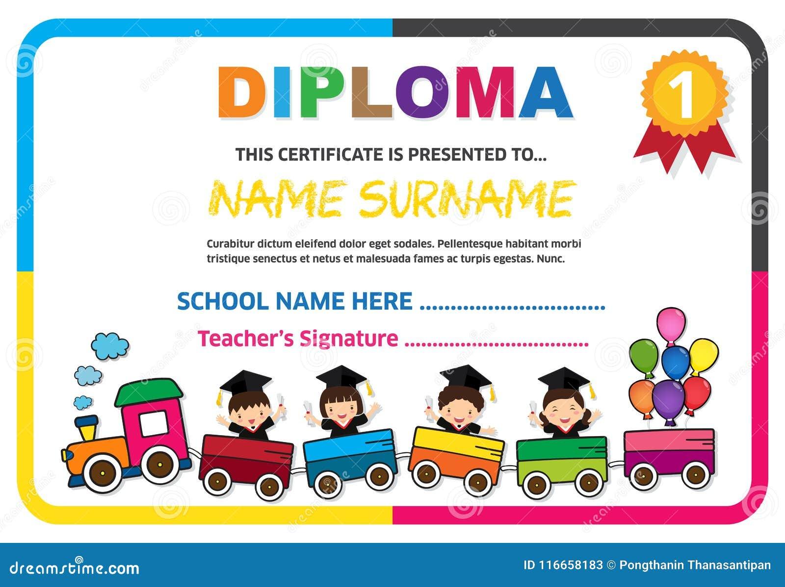 Preschool Kids Diploma Certificate Colorful Background ...