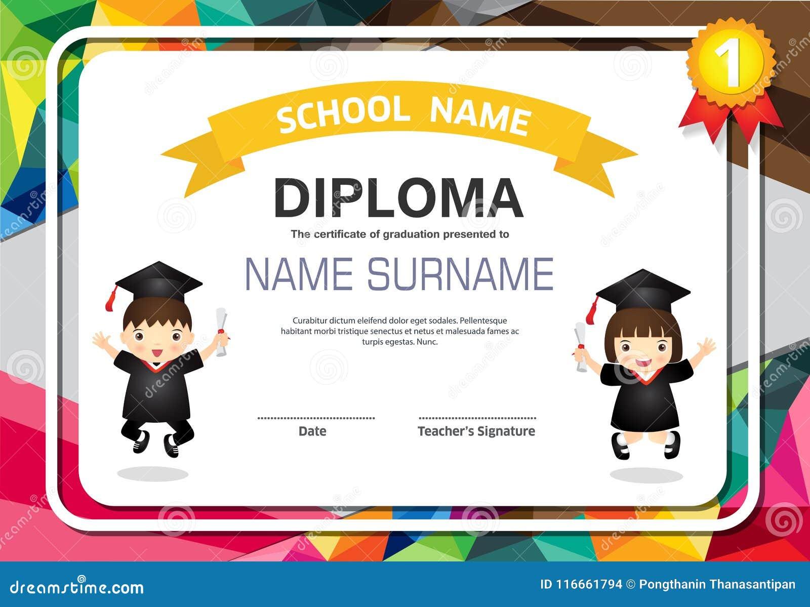 preschool kids diploma certificate colorful background design