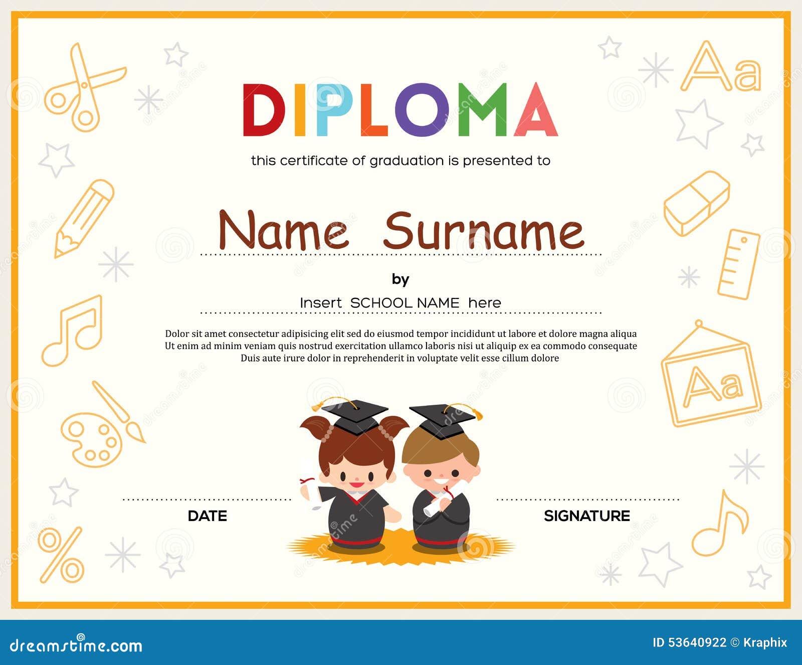Preschool kids diploma certificate design template stock vector preschool kids diploma certificate design template royalty free vector 1betcityfo Choice Image