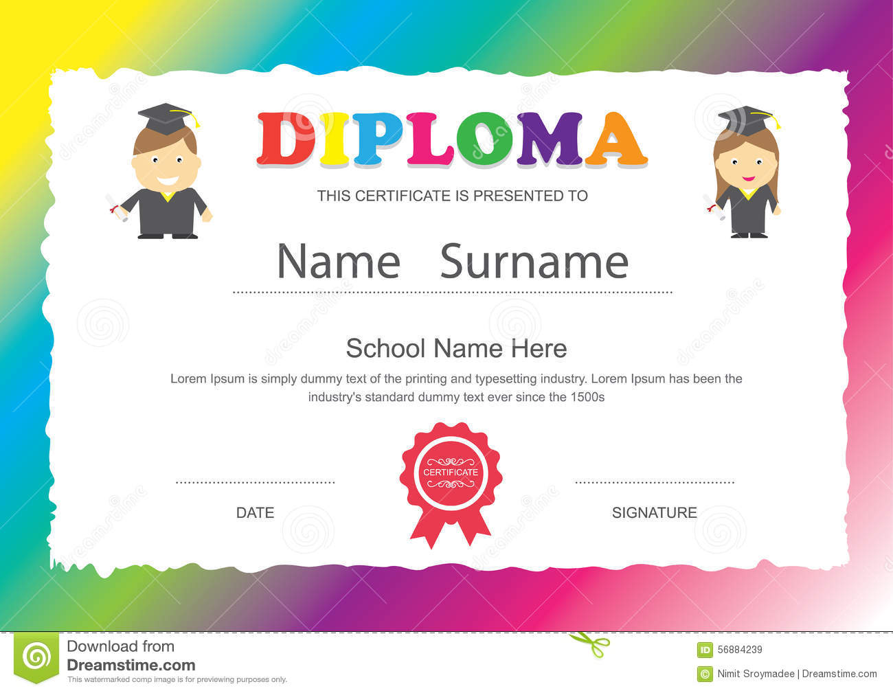 Kids diploma preschool certificate elementary school design temp preschool kids elementary school diploma certificate design royalty free stock images yadclub Image collections