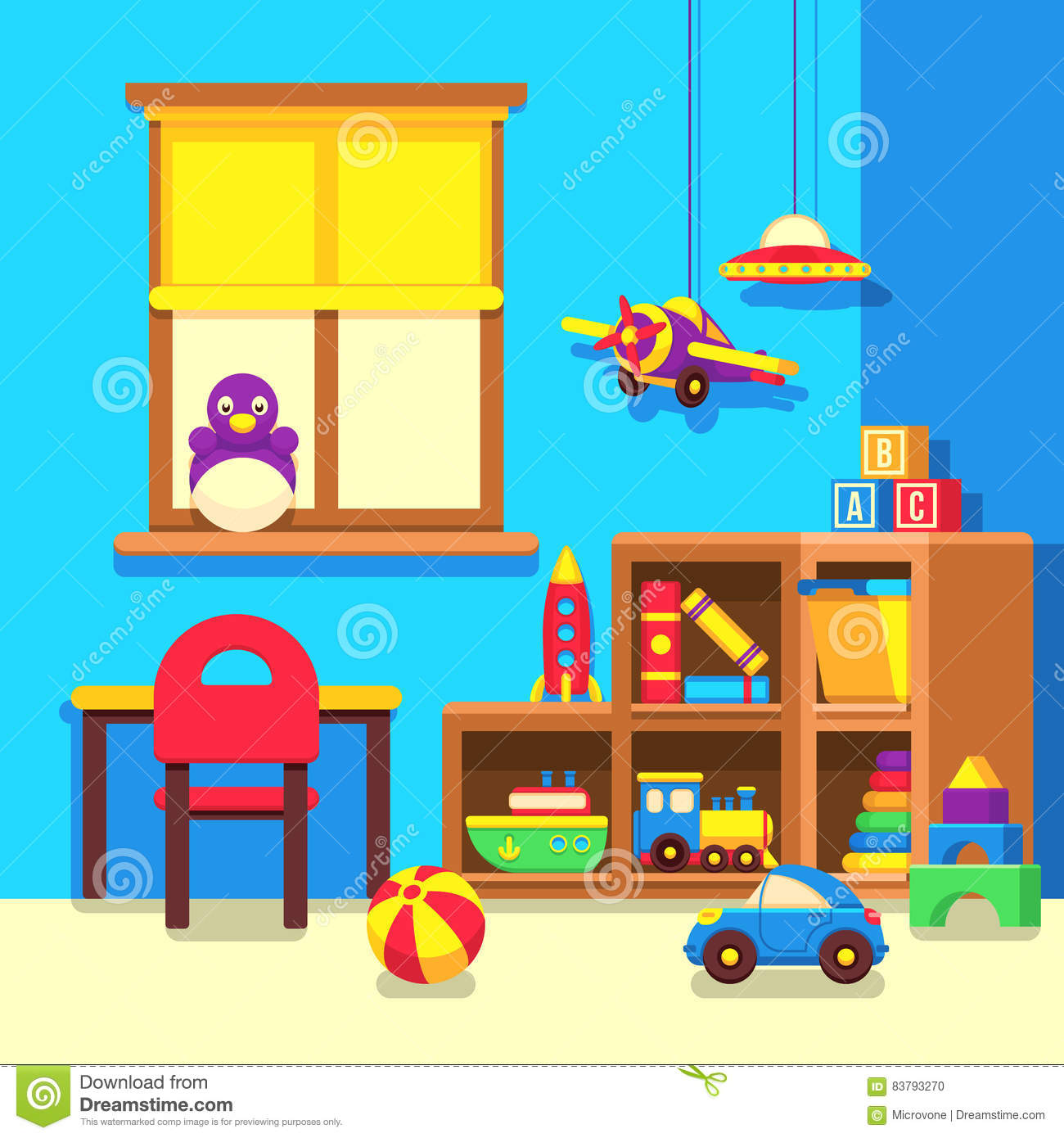 Preschool toys royalty free stock image cartoondealer for Cuarto ordenado animado
