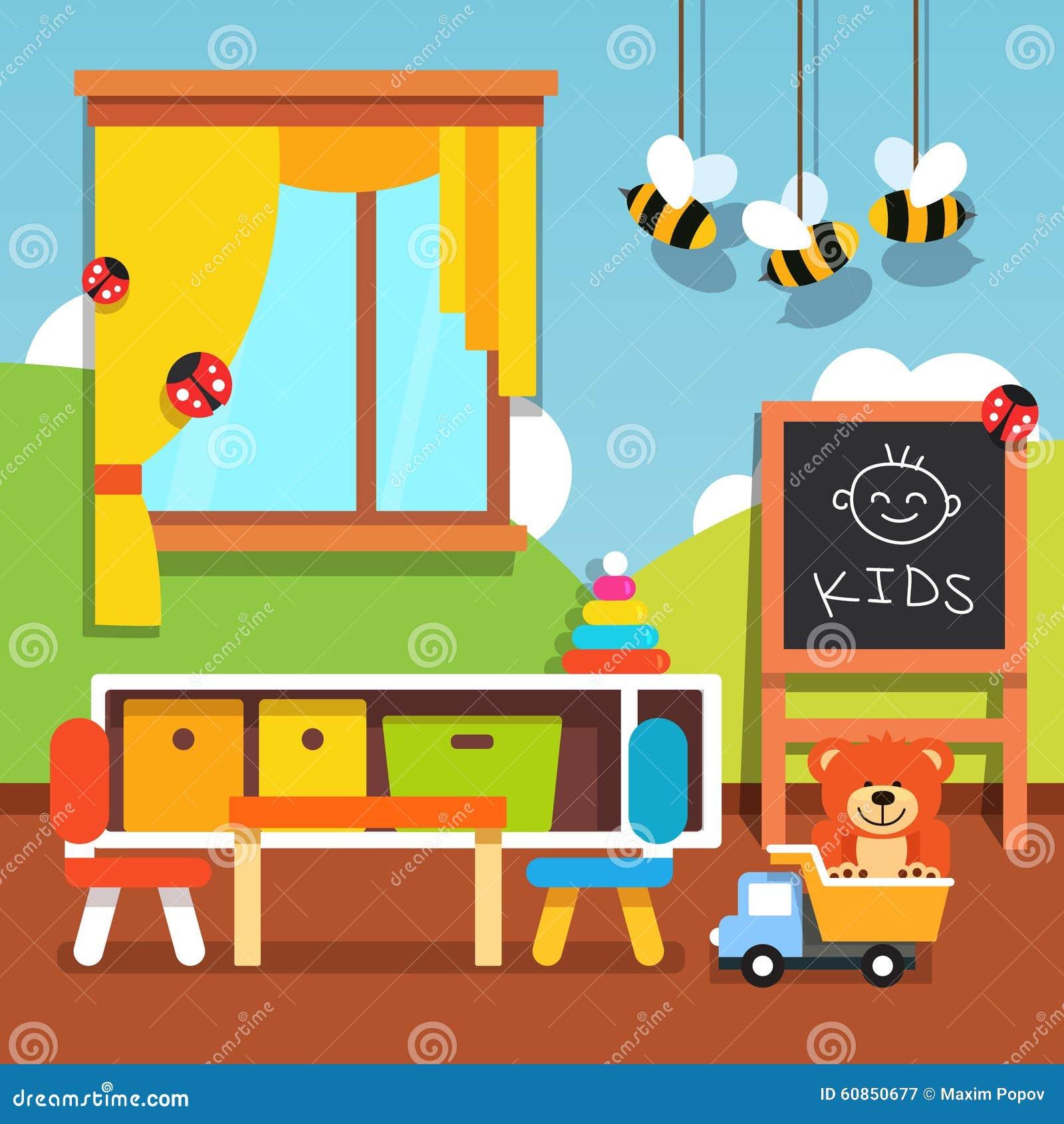 Preschool Kindergarten Classroom With Toys Stock Vector