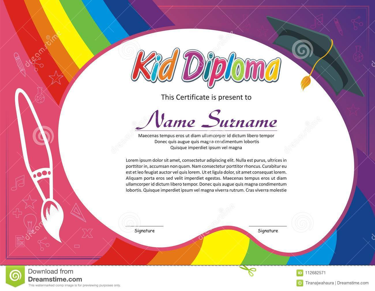Preschool Kindergarten Lovely Kid Diploma Certificate Template Design With Cute And Adorable Color Design Suitable And Definitely Very Interesting For