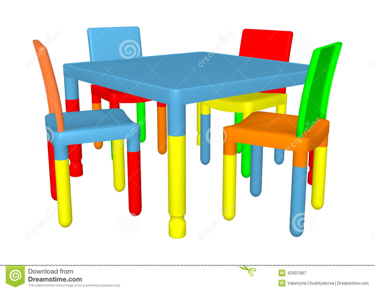 Preschool Table And Chairs Stock Illustration Image - Table and chairs clipart