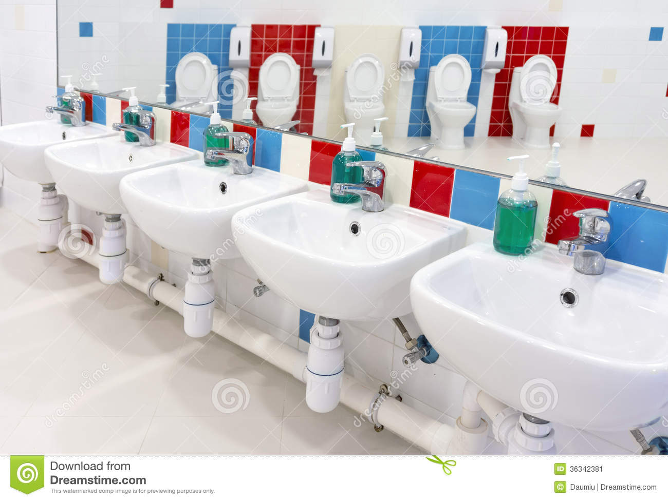 Preschool washroom stock image image 36342381 for Children s bathroom designs