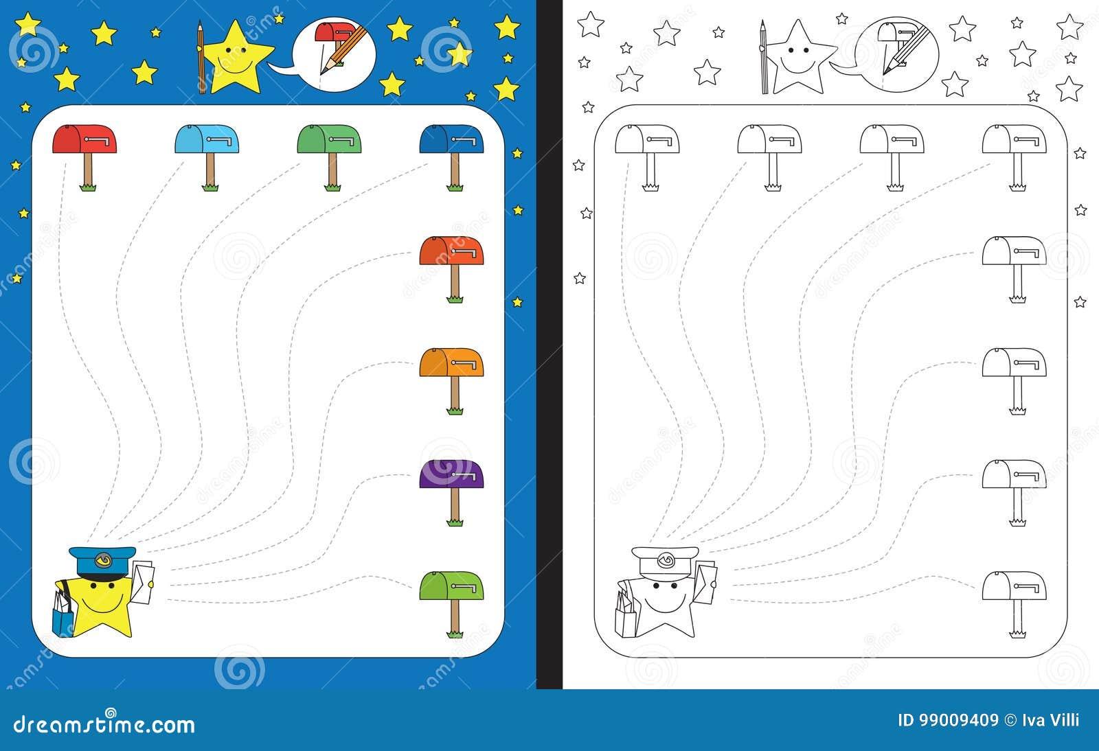 Preschool Worksheet Stock Vector Illustration Of Color 99009409