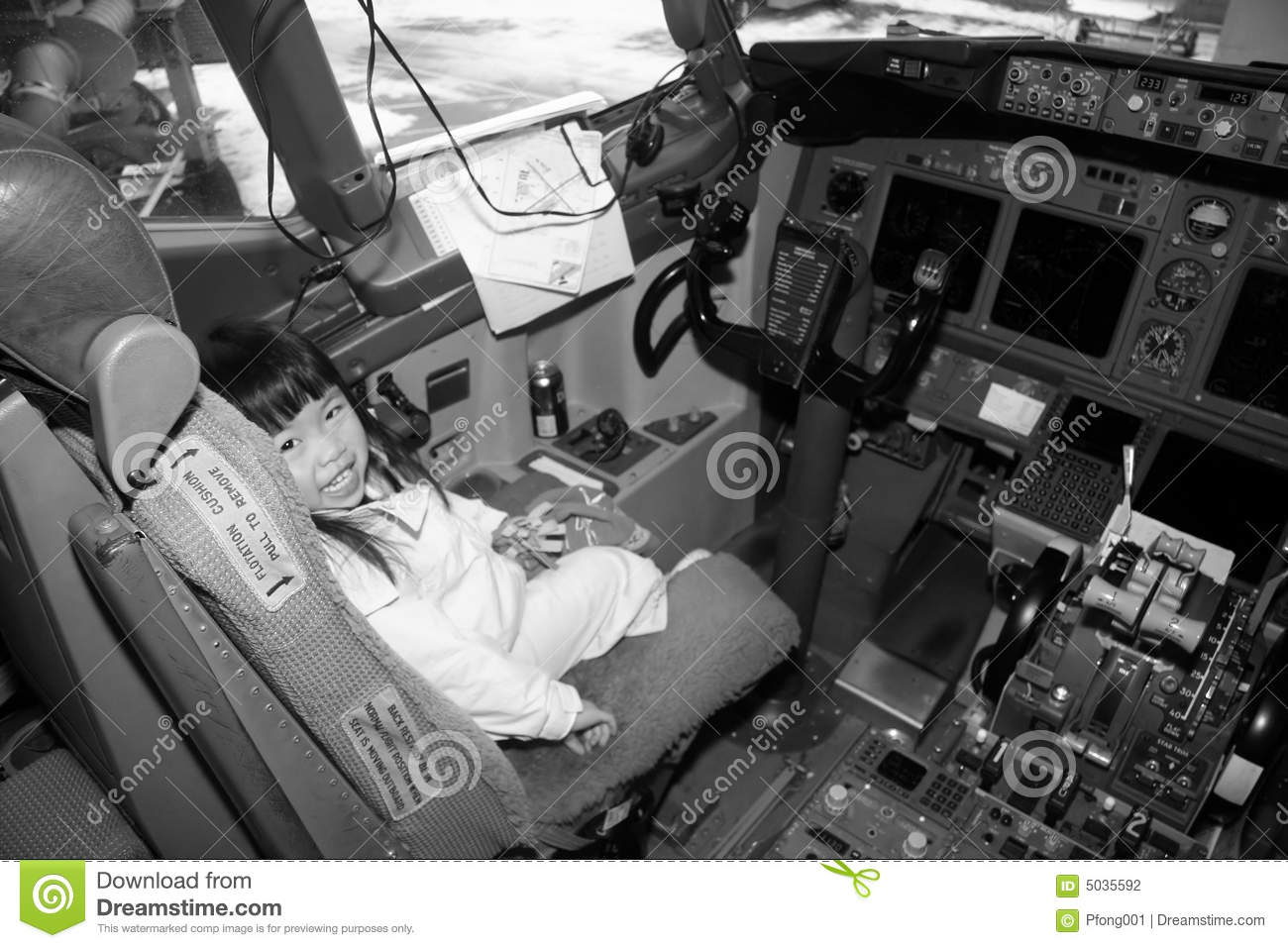 Preschooler in Airplane Cockpit