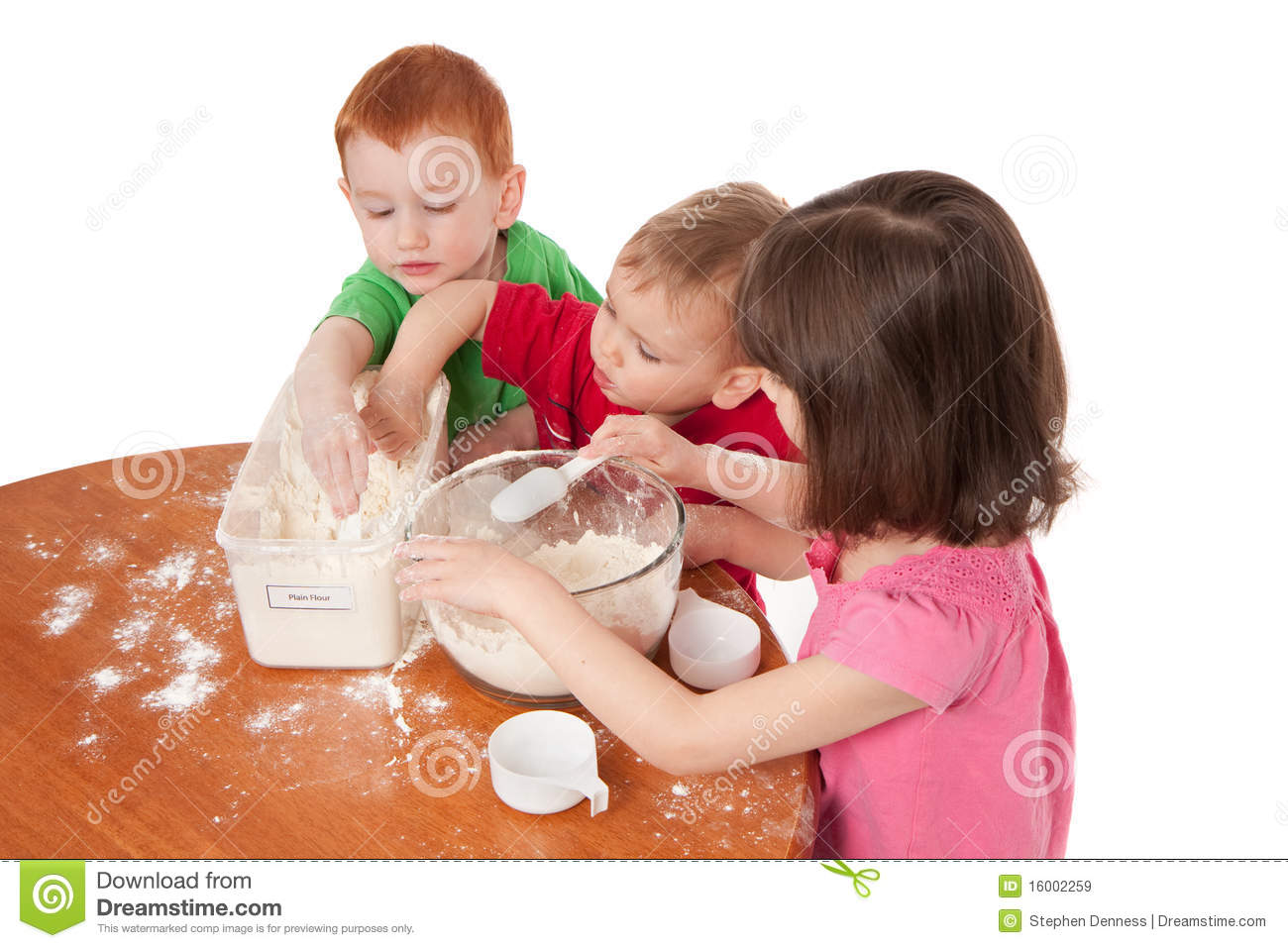 Preschooler Kids Making Mess In Kitchen Royalty Free Stock