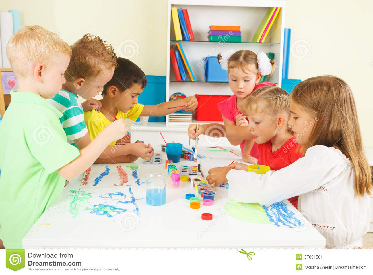 Preschoolers painting stock photo image 57091501 for Paintings of toddlers