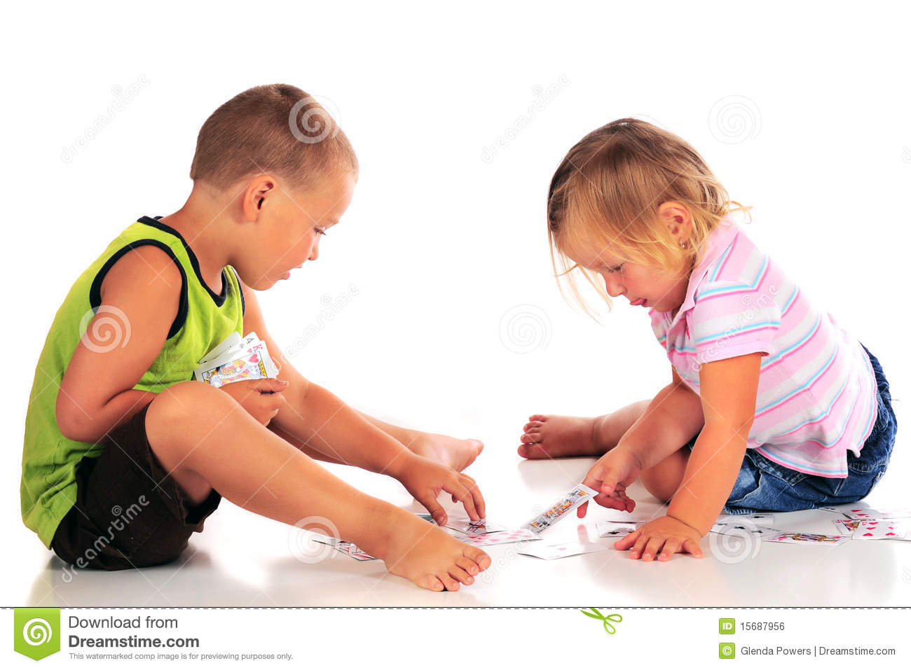 Preschoolers Playing Cards