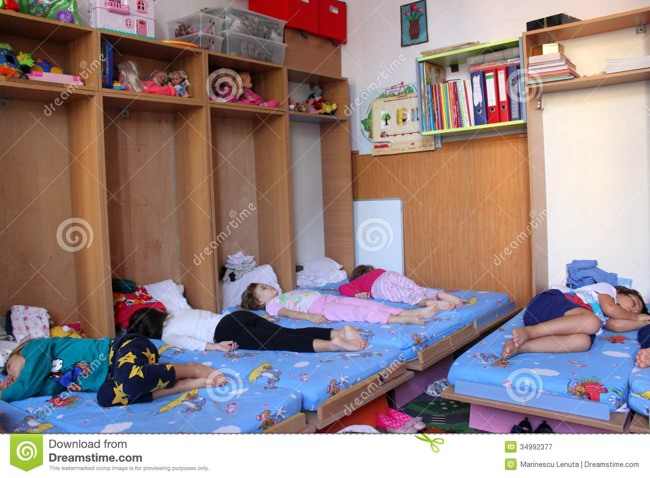 Preschoolers Sleeping At Kindergarten Editorial ...