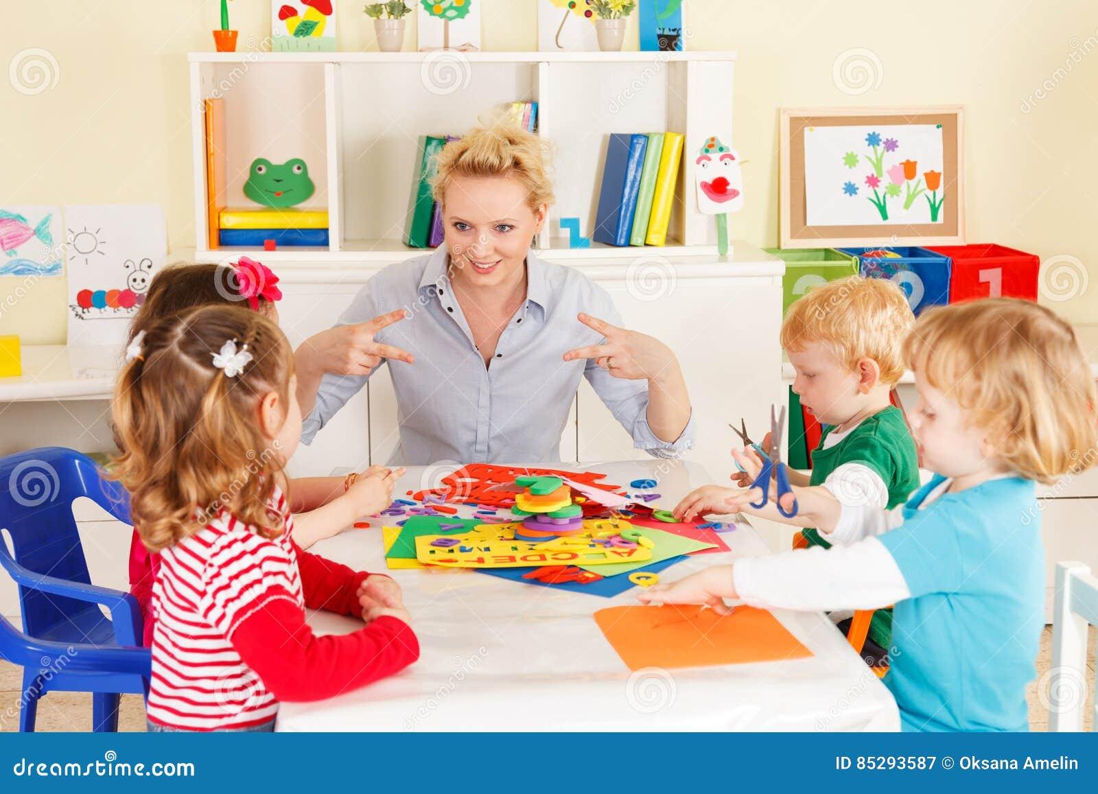 Preschoolers with the teacher