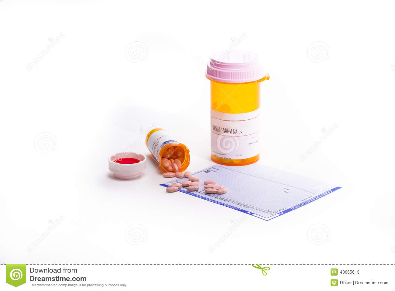 Prescription Form Covered in Pills