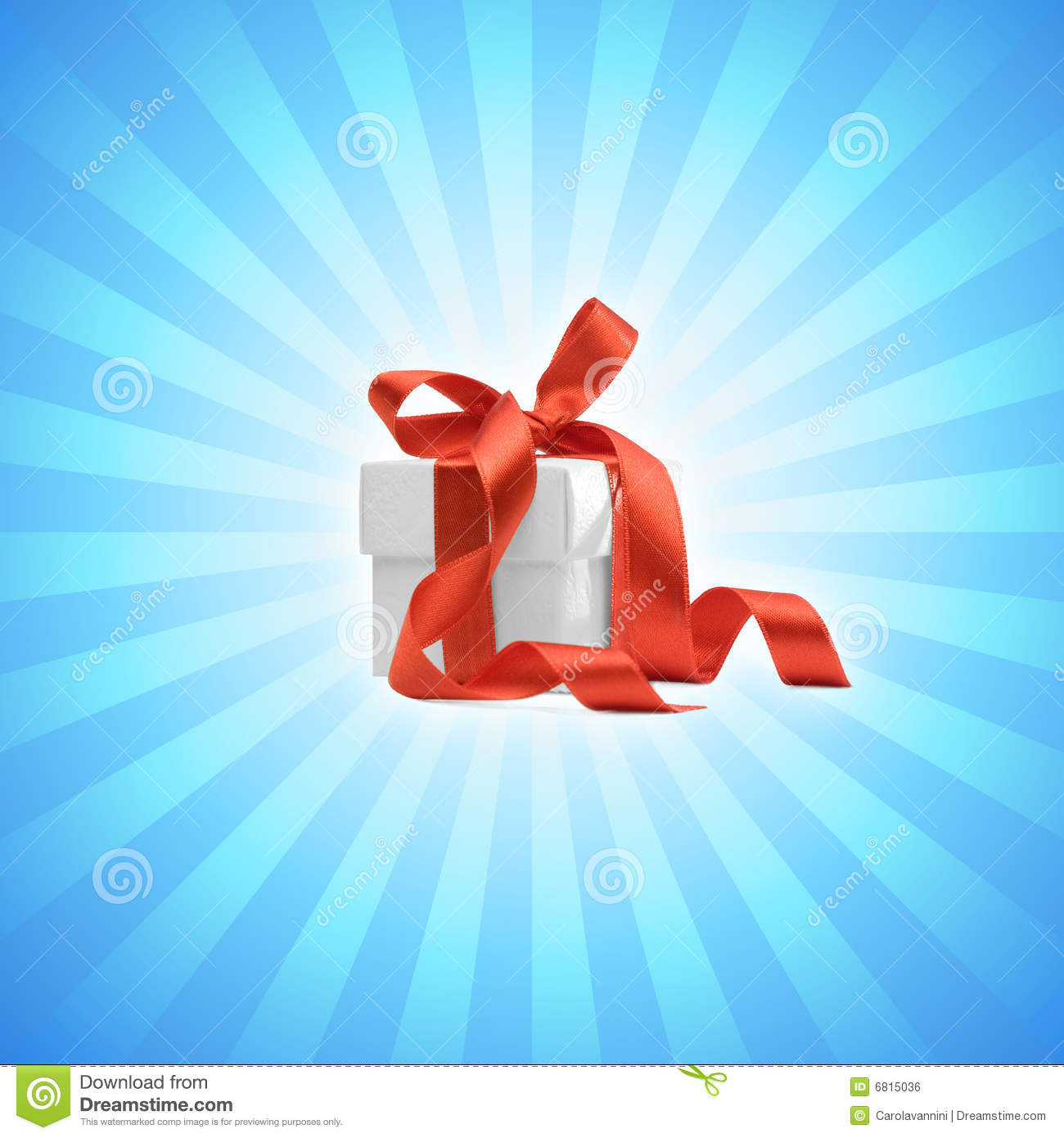 Present box with light blue background