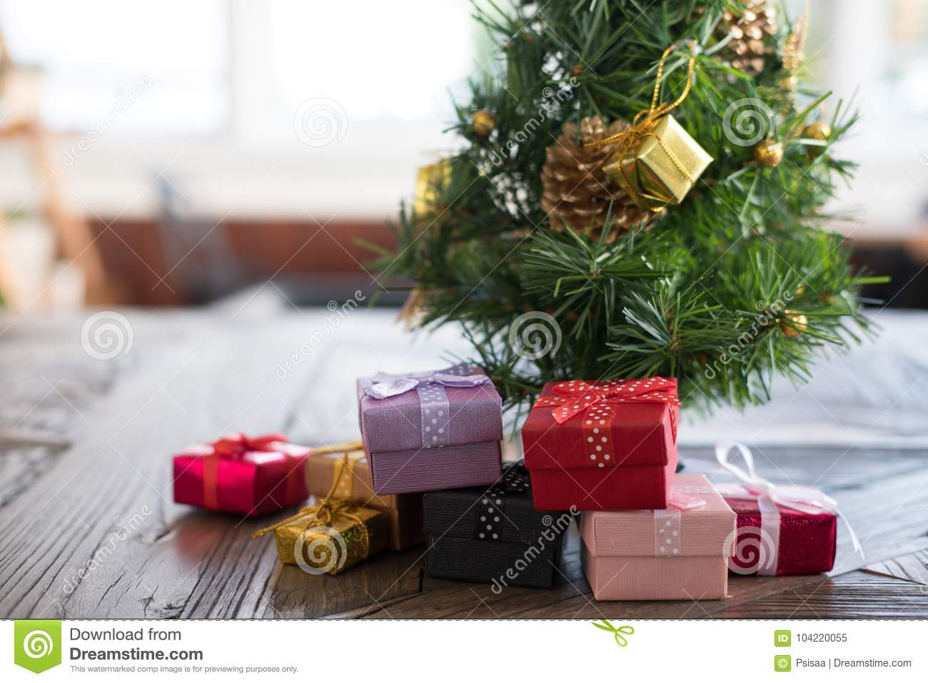 download present boxes and decorated christmas tree gift box for xmas pa stock image