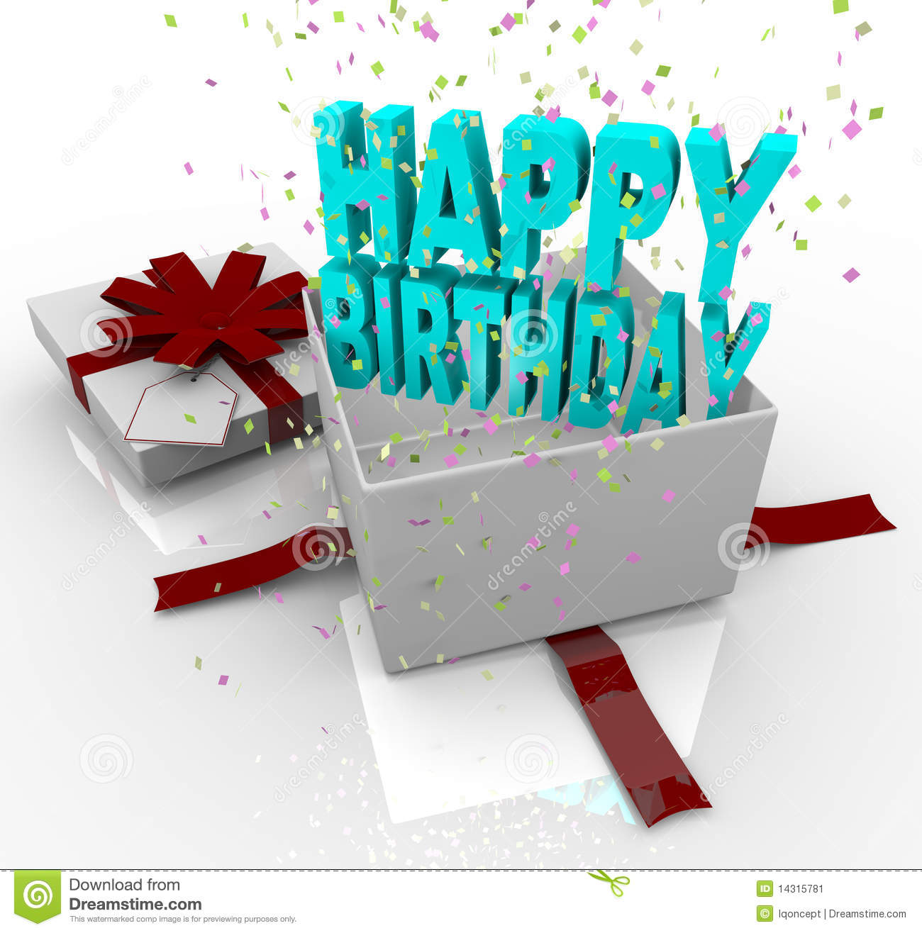 A White Gift Box Springs Open To Reveal The Words Happy Birthday