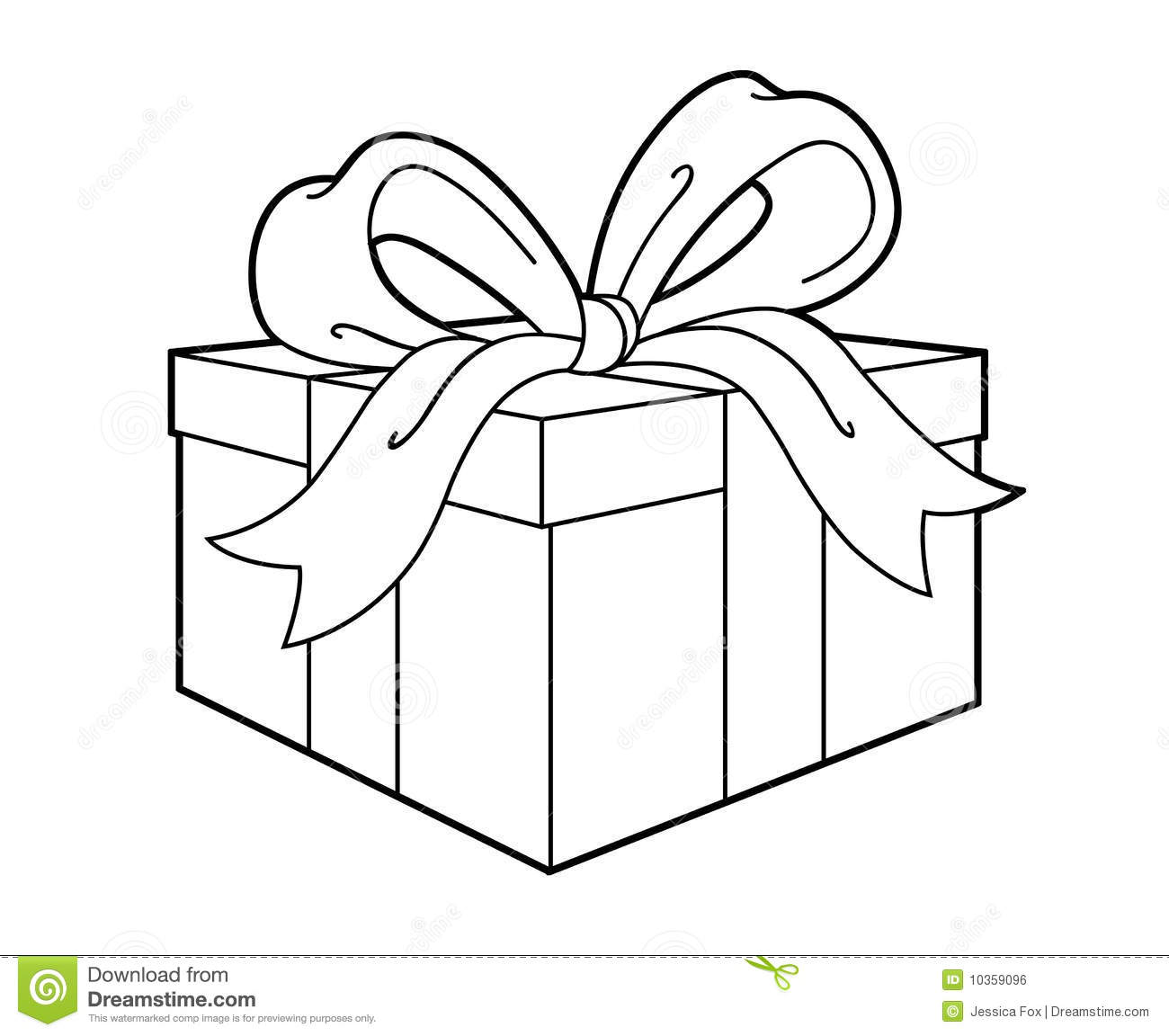 Simple Black Line Art Drawing Of A Present Or Gift Colors Can Be