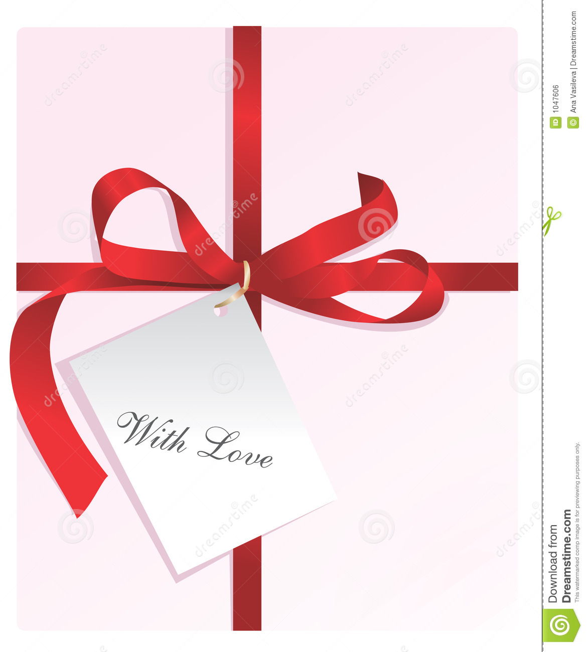 Present,red ribbon,card With Love
