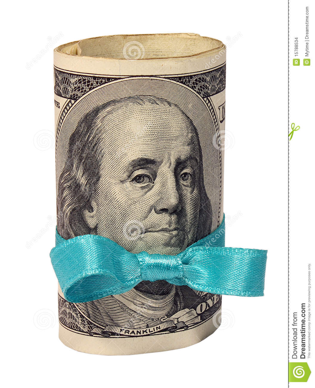 Present of roll of dollars with blue ribbon - present-roll-dollars-blue-ribbon-15788534