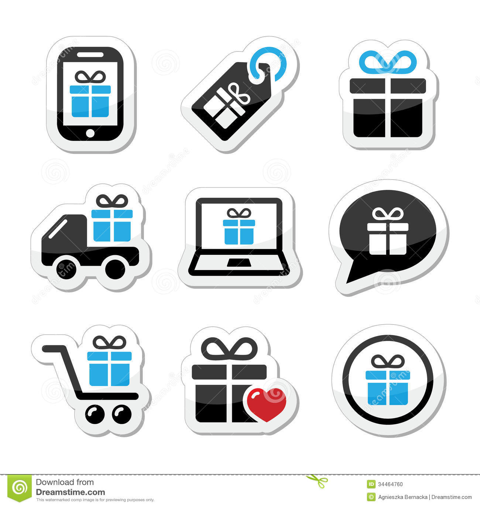 present shopping icons set stock illustration illustration of bubble shipping 34464760. Black Bedroom Furniture Sets. Home Design Ideas