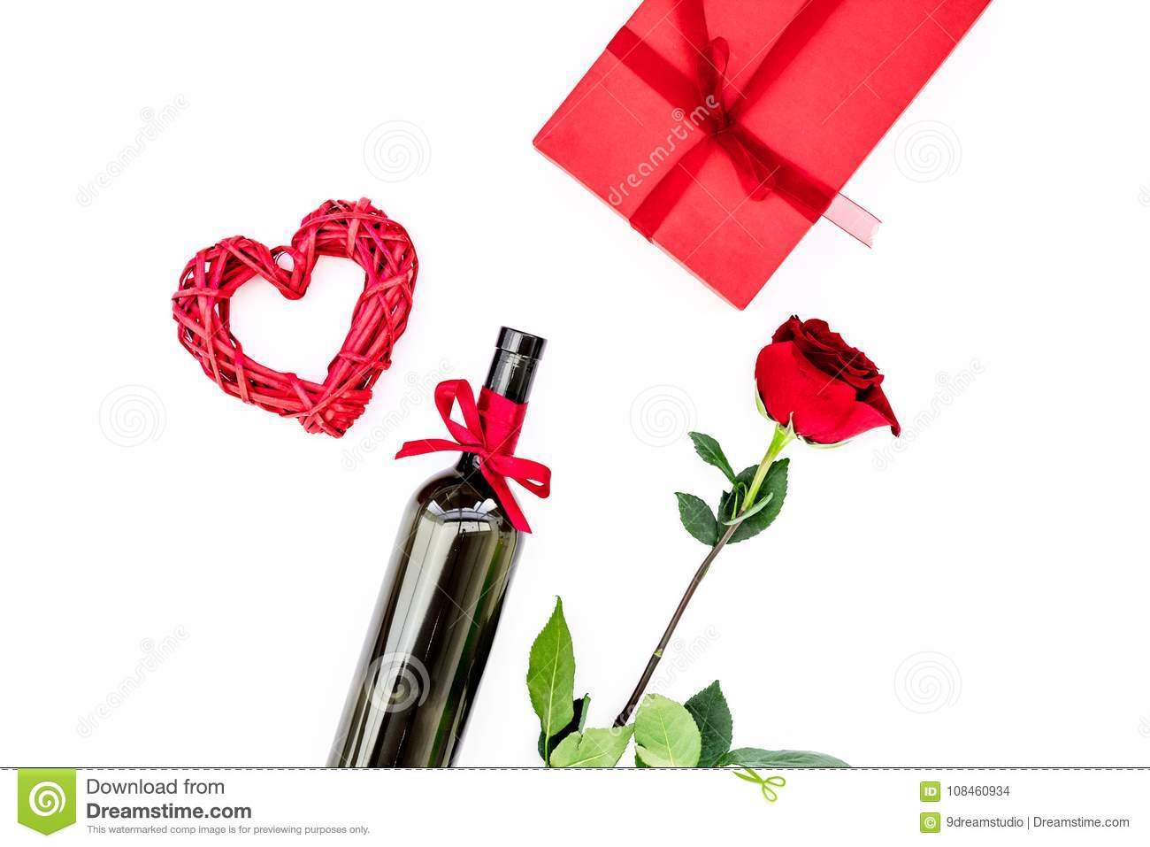 Present For Valentine Day In Red Colors Wine Rose Heart Sign