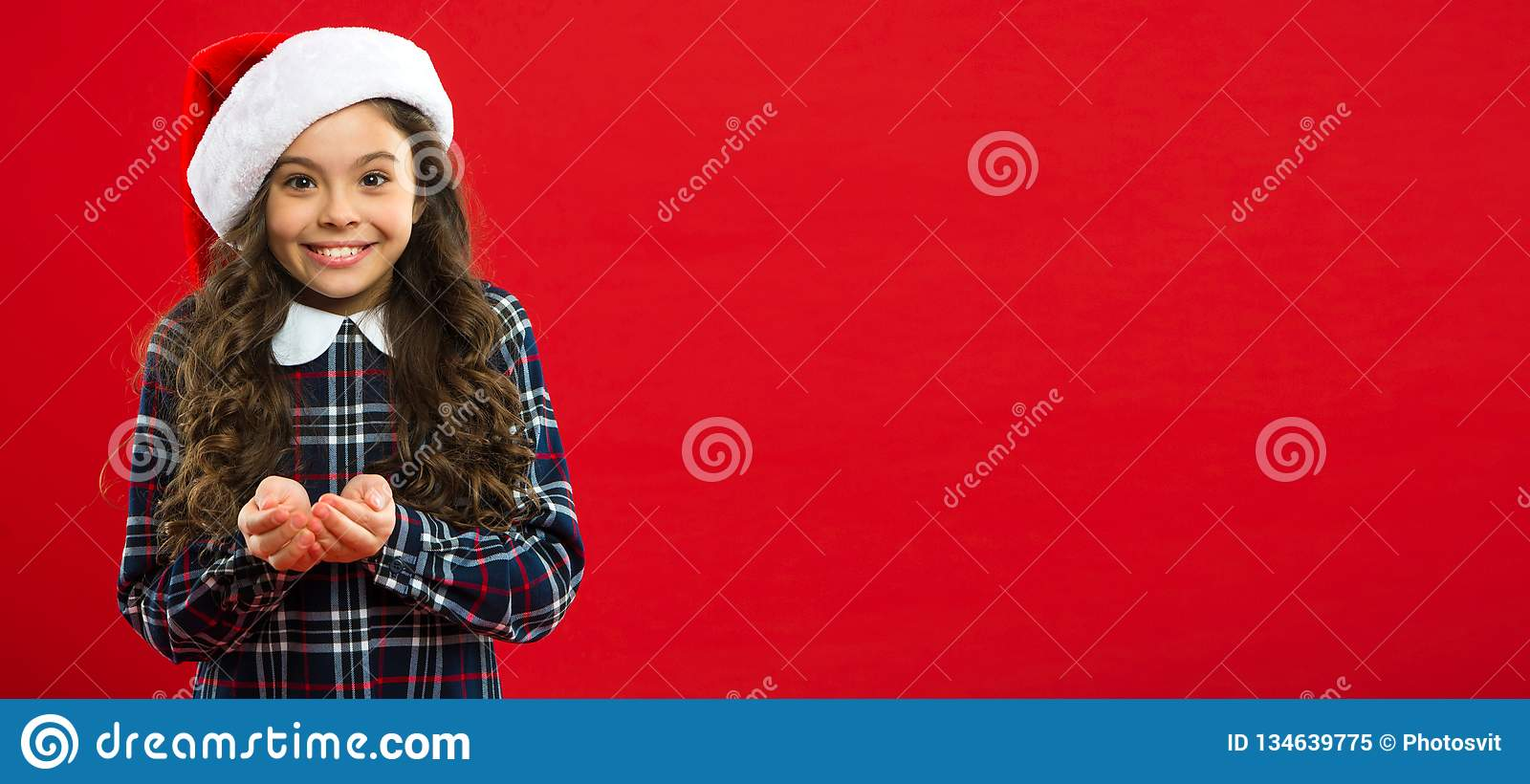 Present for Xmas. Childhood. New year party. Santa claus kid. Christmas shopping. Happy winter holidays. Small girl