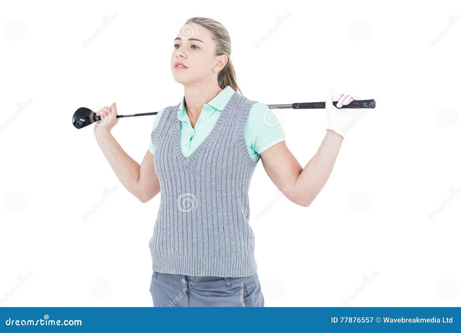 Presentación Bastante Rubia Con El Equipo De Golf Foto de archivo