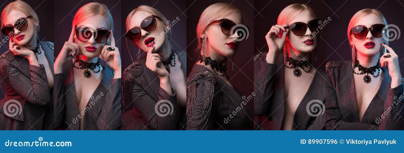 Mujer imponente que presenta en el estudio para el photoshoot del encanto  que muestra diversas actitudes aa2c313af8