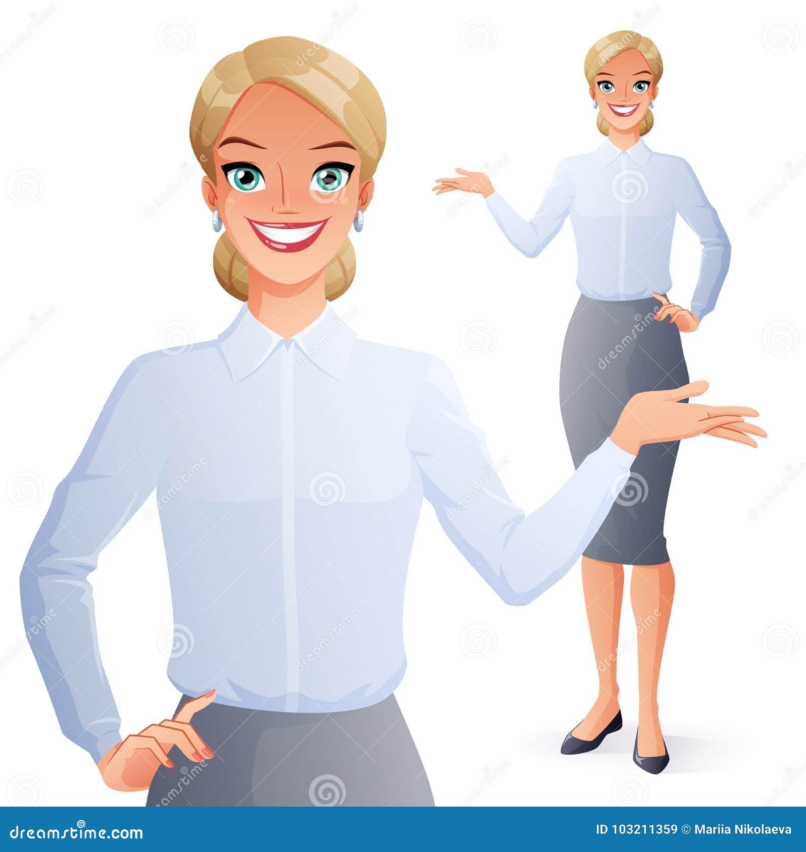Presentación sonriente bonita de la mujer de negocios Ilustración del vector