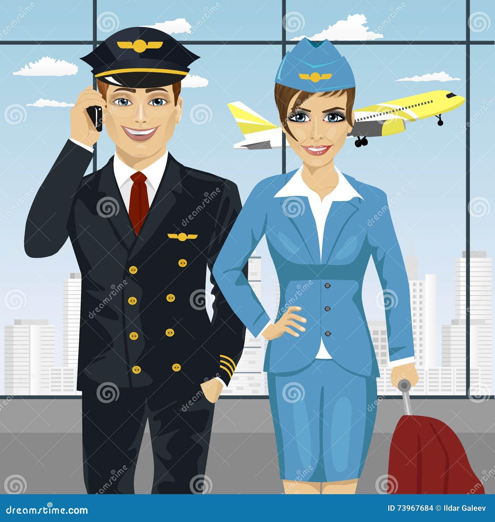 Presentadora del piloto y de aire en uniforme en el aeropuerto