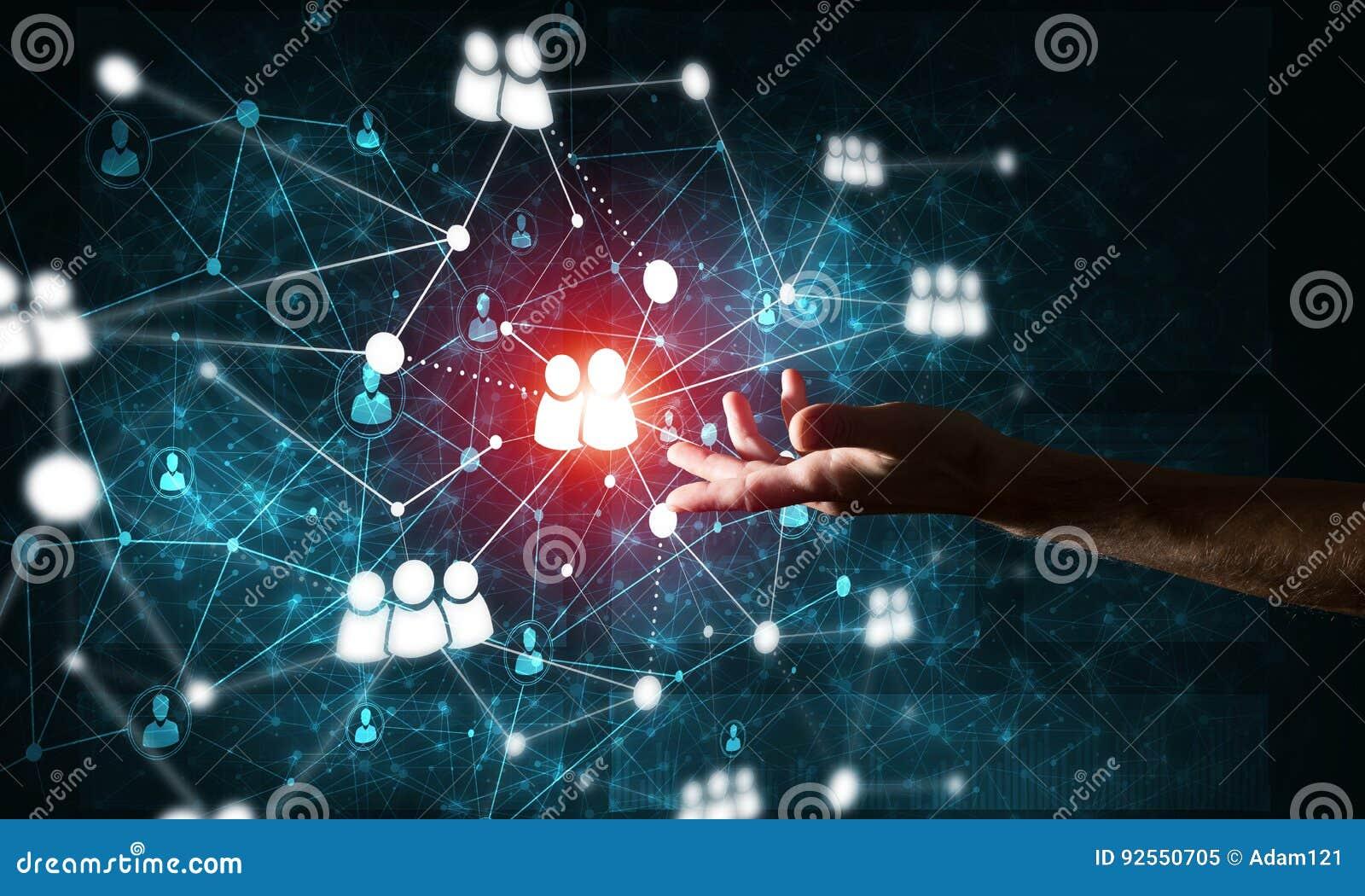 Presentando le tecnologie wireless moderne come mezzi di communucation e di rete su fondo scuro