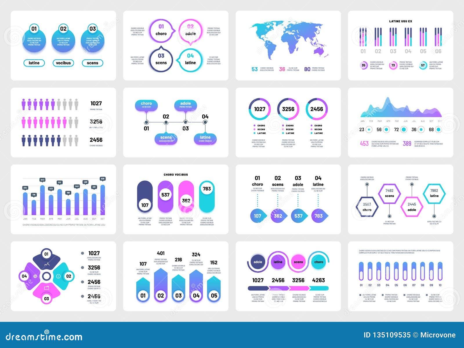Presentatie infographic elementen Collectieve het rapportchronologie van grafiekengrafieken Zaken die multifunctionele vector op