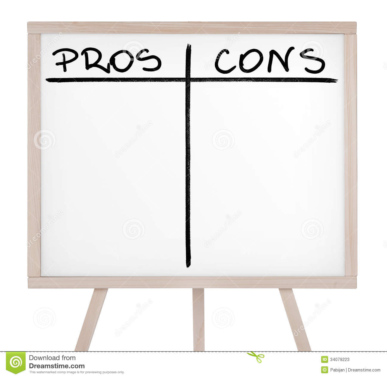 pros and cons on whiteboard stock photos image  presentation board empty pros and cons table stock photos