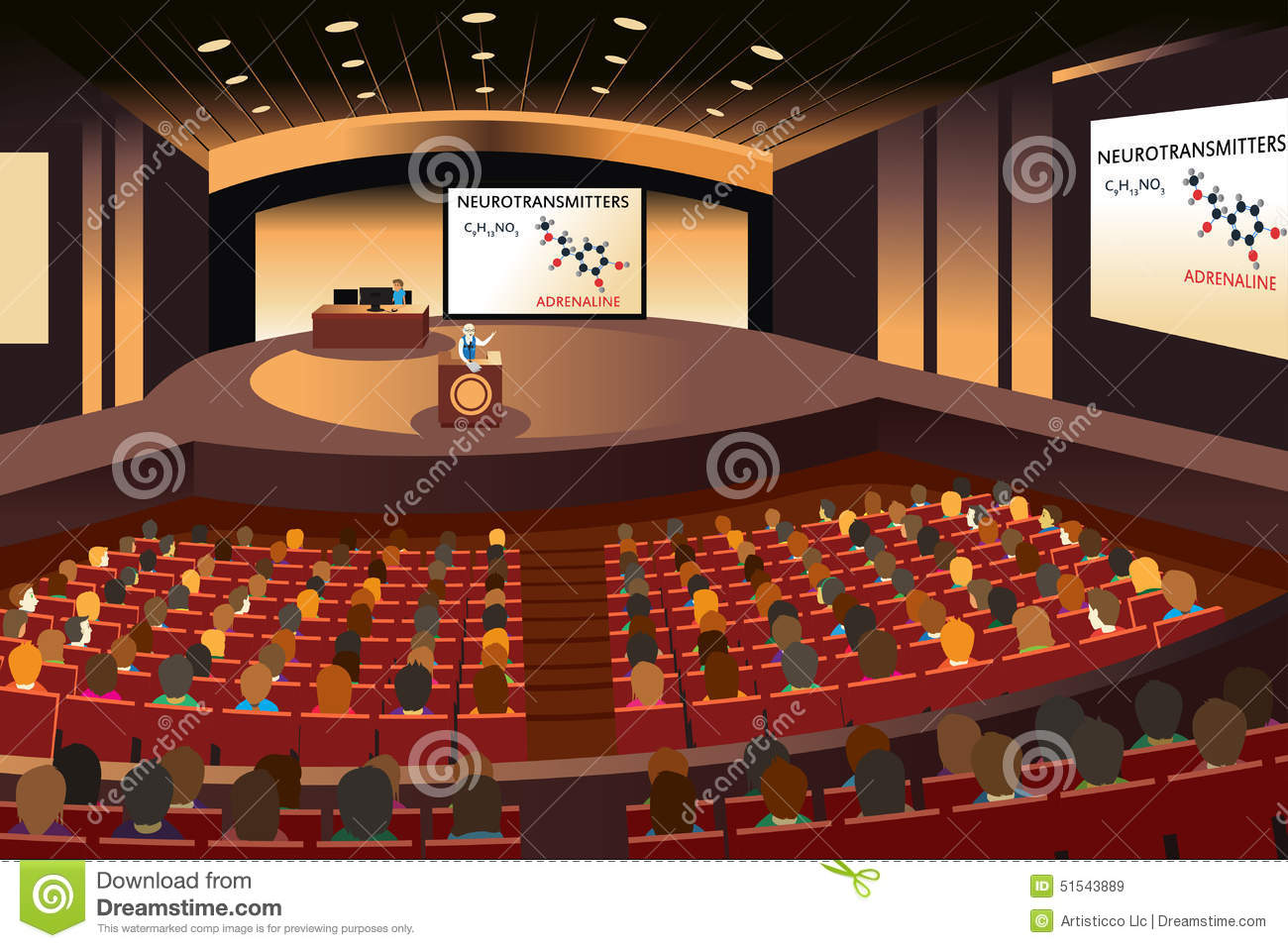 Presentation In A Conference In An Auditorium Stock Vector